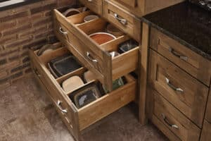 kitchen cabinets with open drawers