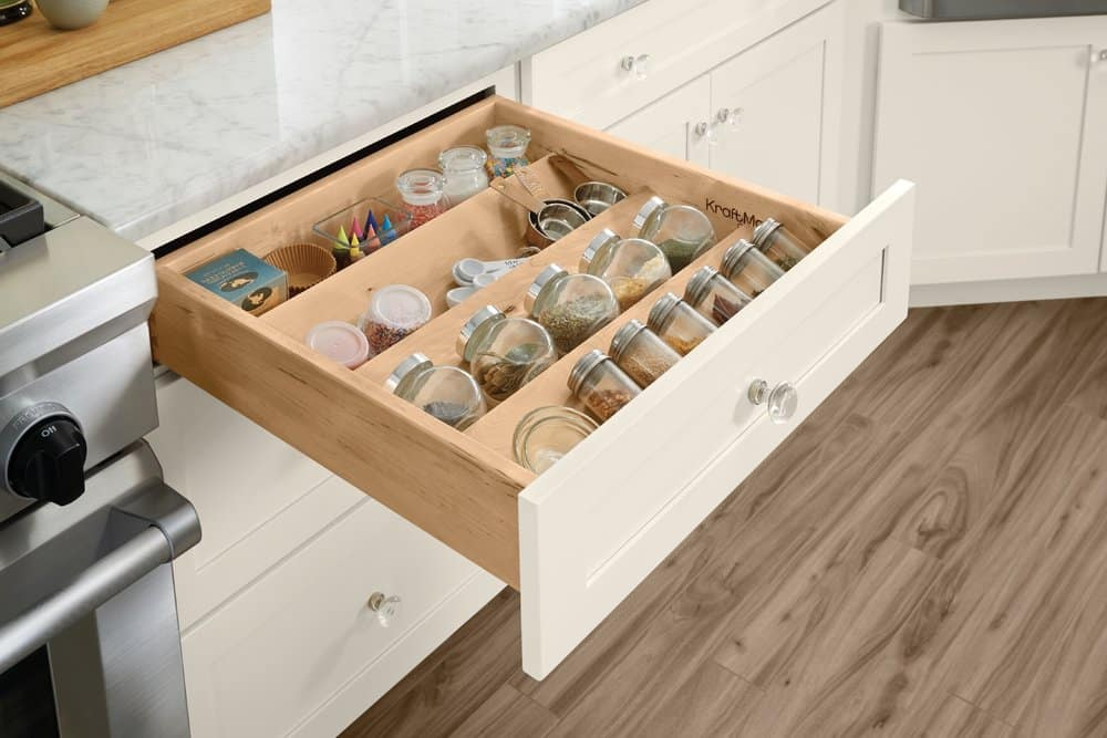 kraftmaid spice drawer organizer with containers shown