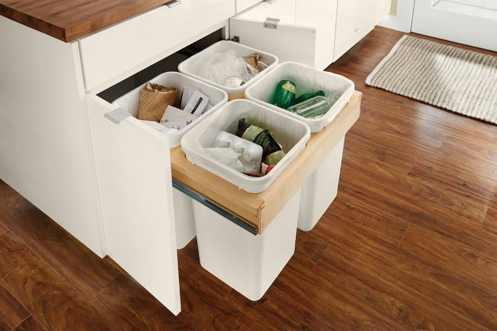 kraftmaid cabinet with built-in trash and recycling can holders