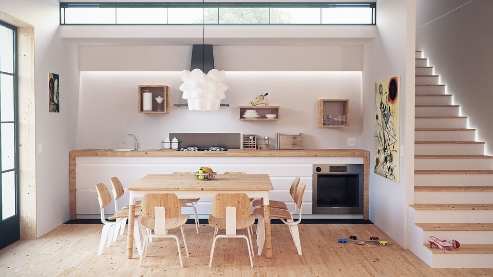 remodeled minimalist kitchen with a white and light wood color scheme
